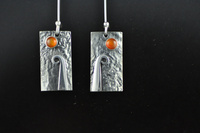 Koru and Carnelian silver earrings