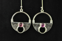 Pink Tourmaline and silver earrings