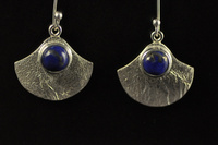 Lapis Lazuli and textured silver earrings