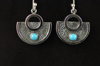 Turquoise and textured blackened silver earrings