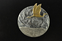 Heron (Kotuku) in flight silver brooch