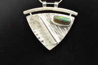 Australian Boulder Opal and Sterling Silver Fabricated Pendant