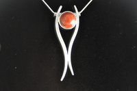 Red Sponge Coral and Sterling Silver Pendant