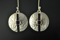 Blue Sapphire, 22ct Gold and Reticulated Silver Earrings